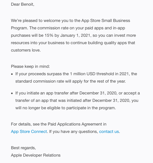 apple store small business program confirmation